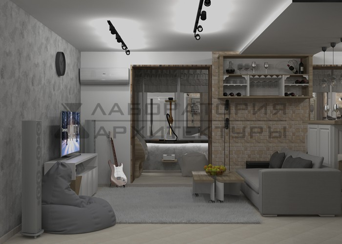частные интерьеры интерьер квартиры в стиле лофт